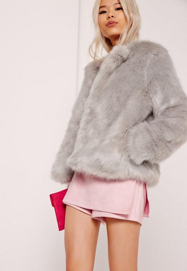 Collarless Short Faux Fur Coat Grey | Missguided Ireland
