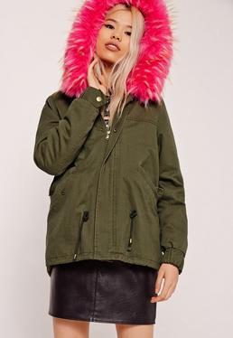 Pink Faux Fur Hooded Parka Coat