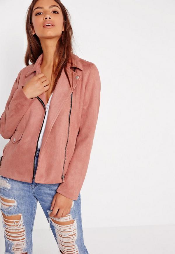 Suedette Bonded Biker Jacket Pink