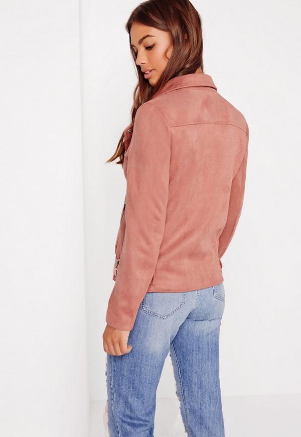 Suedette Bonded Biker Jacket Pink | Missguided