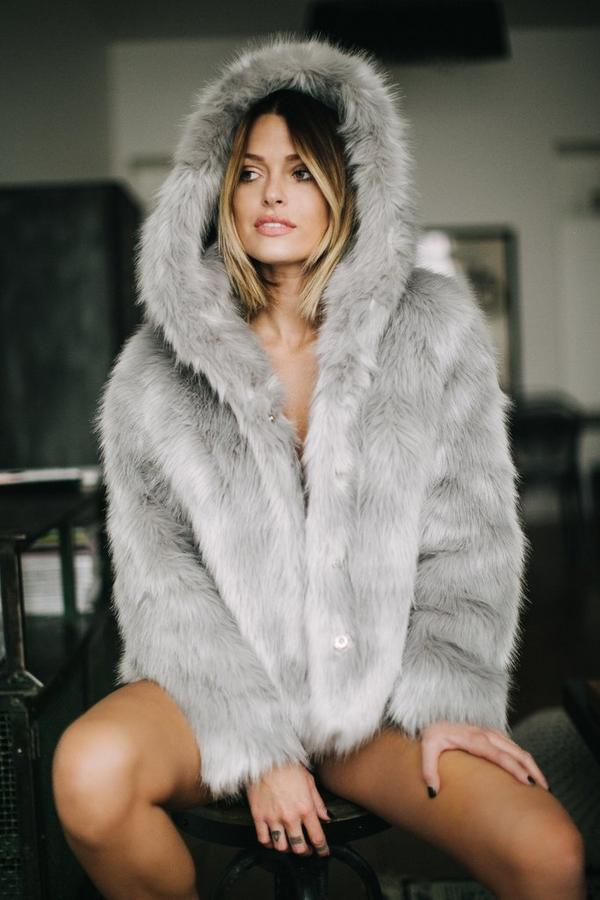 Caroline Receveur Grey Hooded Faux Fur Coat - Missguided