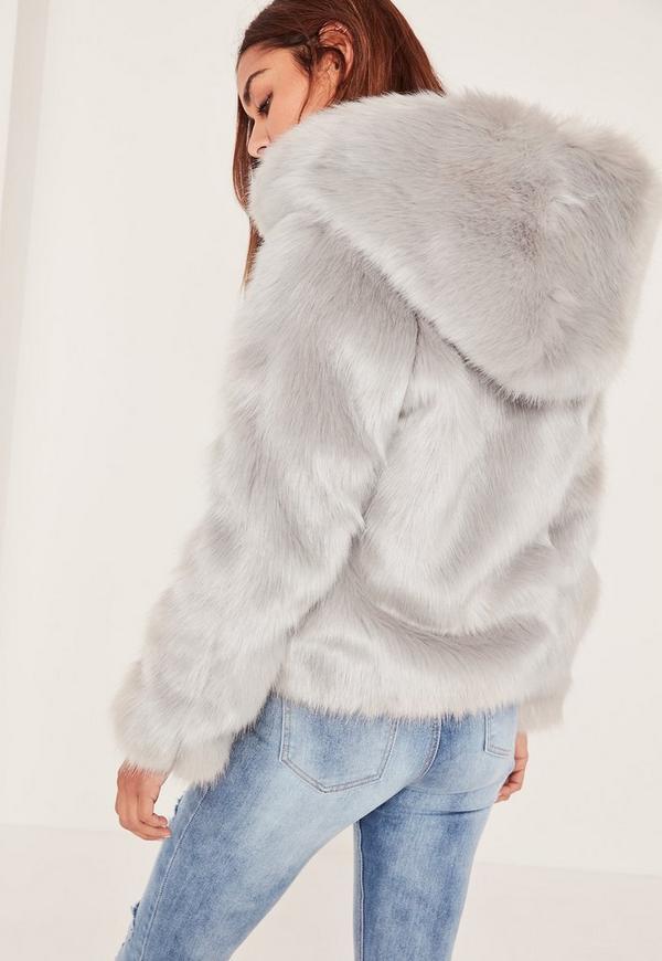 Caroline Receveur Grey Hooded Faux Fur Coat | Missguided