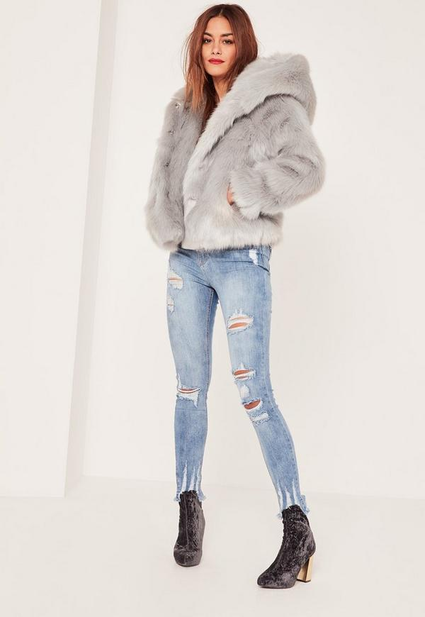 Caroline Receveur Grey Hooded Faux Fur Coat | Missguided