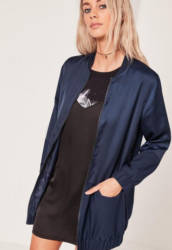Longline Two Tone Bomber Jacket Navy | Missguided