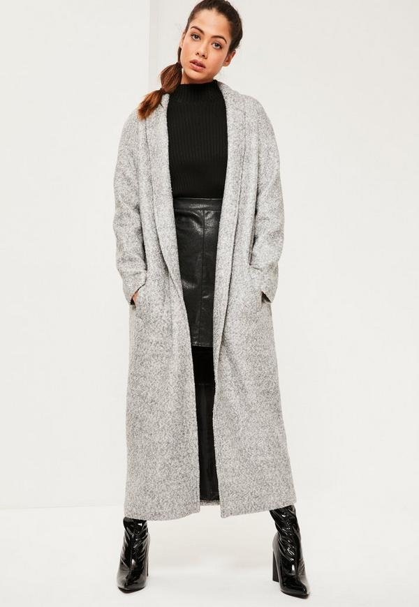 Grey Shawl Textured Faux Wool Longline Coat