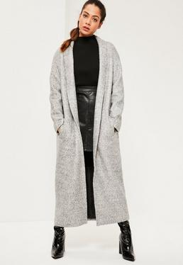 Manteau long gris chiné texturé à revers