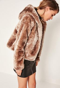 Brown Hooded Short Faux Fur Coat