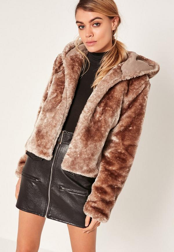 Brown Hooded Short Faux Fur Coat | Missguided