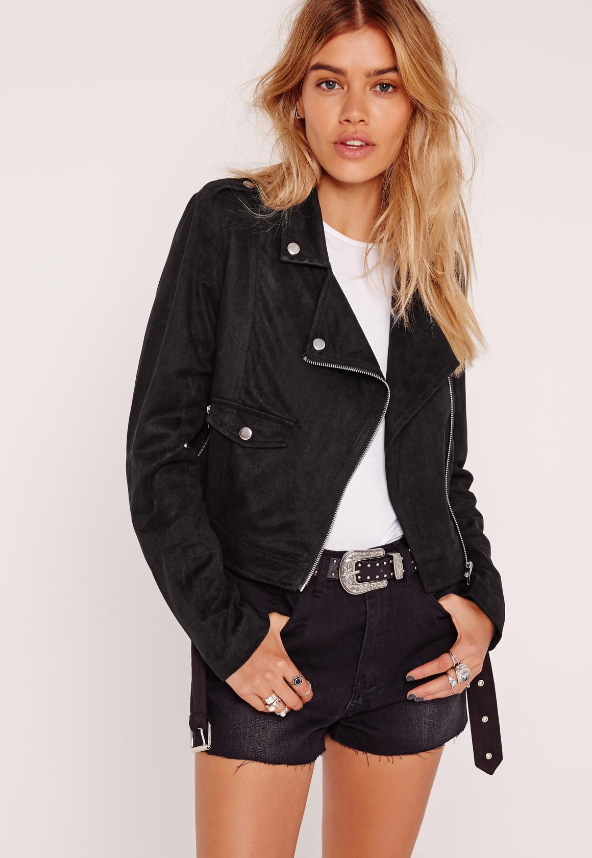 Faux Suede Biker Jacket Black - Missguided