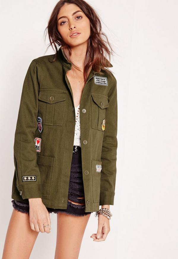 Badge Utility Jacket Khaki