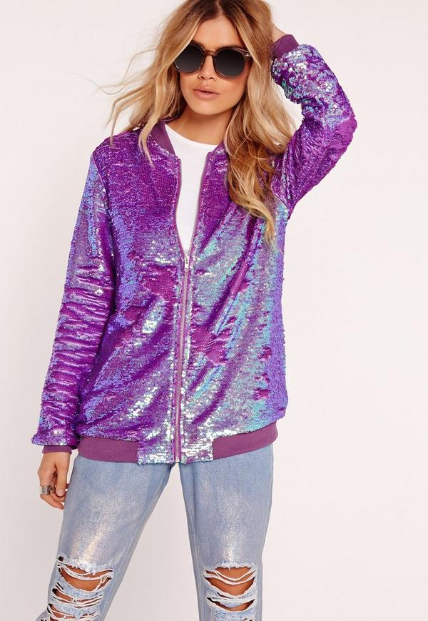 Sequin Bomber Jacket Purple - Missguided