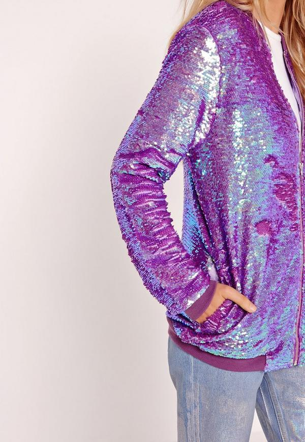 Sequin Bomber Jacket Purple   Missguided