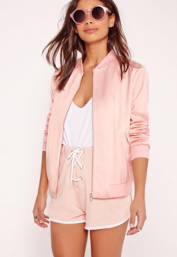 Contrast Rib Satin Bomber Jacket Pink