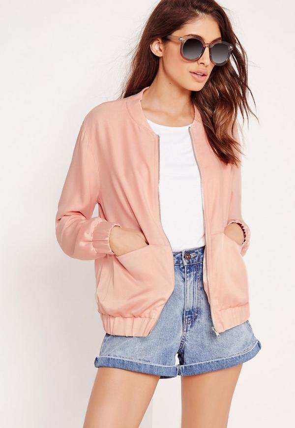 Satin Two Tone Bomber Jacket Light Pink