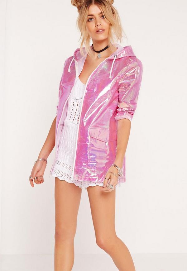 Holographic Zip Rain Mac Pink