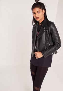 Veste noire biker en simili cuir
