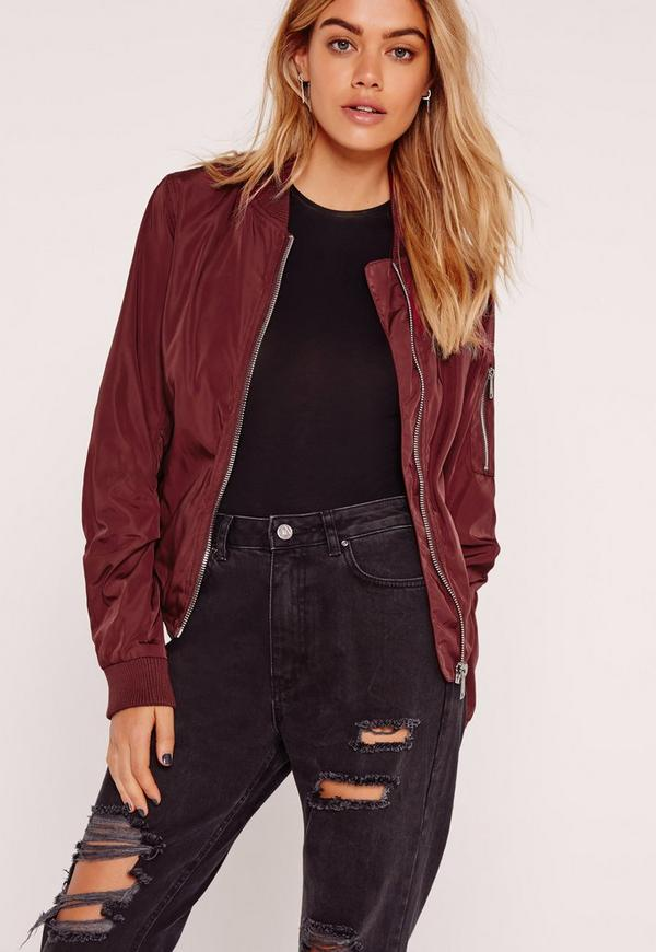 Lightweight Zipped Sleeve Pocket Bomber Jacket Burgundy