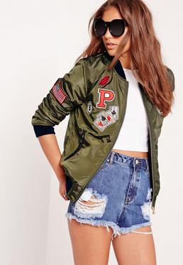American Badge Bomber Jacket Khaki