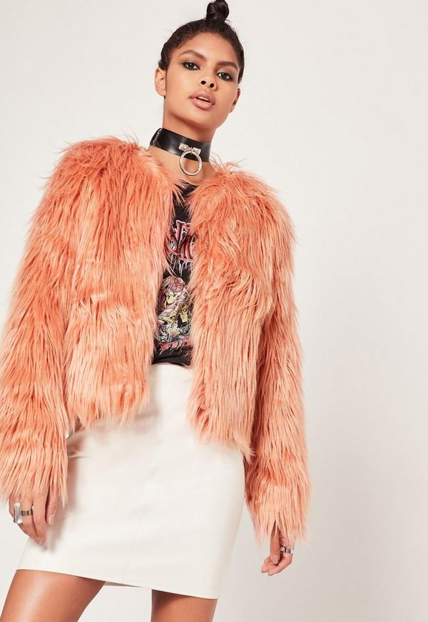 Shaggy Faux Fur Coat Pink
