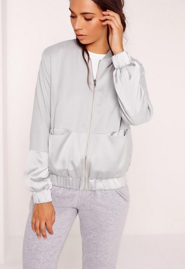 Two Tone Satin Bomber Jacket Grey