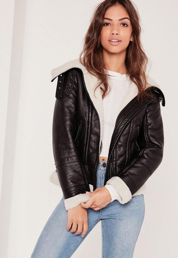 Black Faux Shearling Leather Look Aviator Pilot Jacket