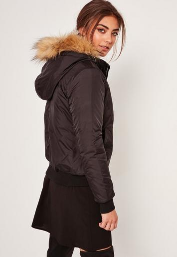 Black Faux Fur Hood Padded Bomber Jacket Missguided