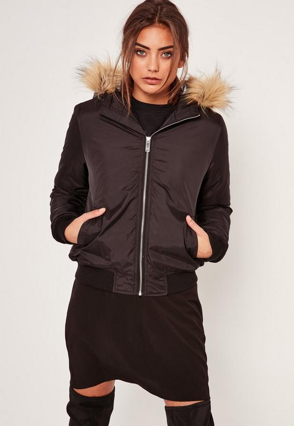 Black Faux Fur Hood Padded Bomber Jacket | Missguided