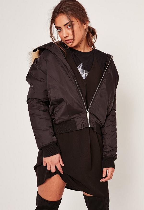 Black Faux Fur Hood Padded Bomber Jacket - Missugided