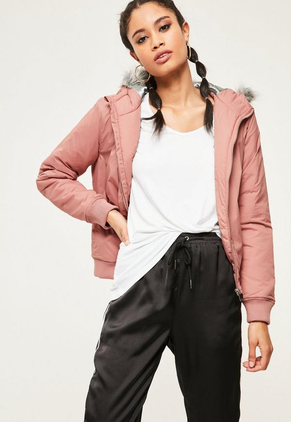 Mauve Faux Fur Hood Padded Bomber Jacket Missguided