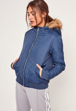 Blue Padded Bomber Jacket