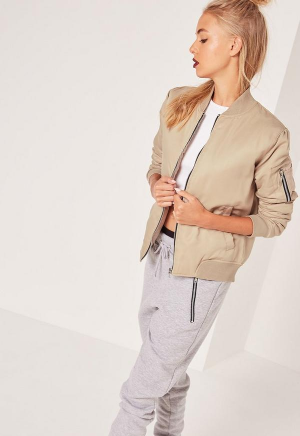 Soft Touch Bomber Jacket Nude