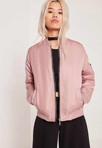 Soft Touch Bomber Jacket Pink Missguided