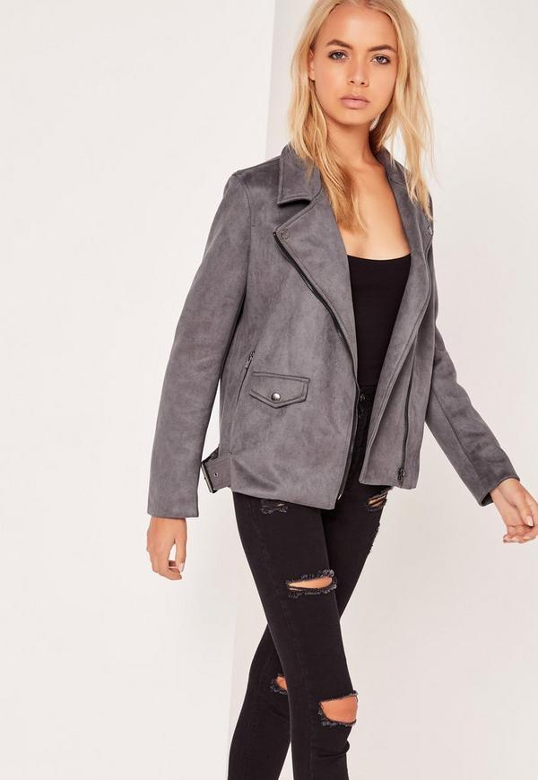 Faux Suede Bonded Biker Jacket Dark Grey