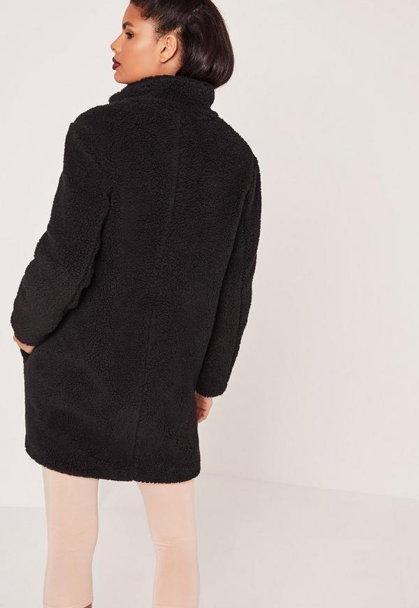 Teddy Faux Shearling Coat Black | Missguided