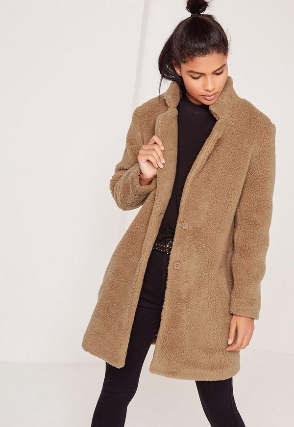 Teddy Faux Shearling Coat Tan | Missguided