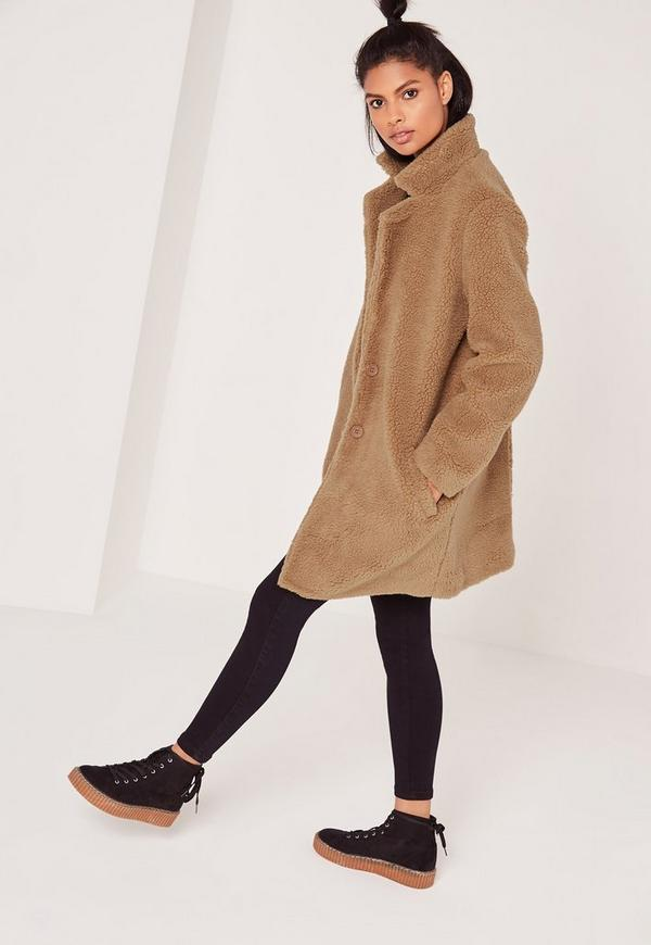 Teddy Faux Shearling Coat Tan | Missguided Ireland