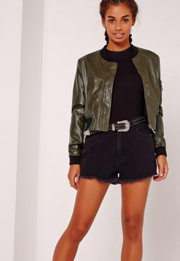 Faux Leather Bomber Jacket Khaki