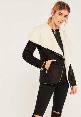 Black Faux Fur Waterfall Jacket