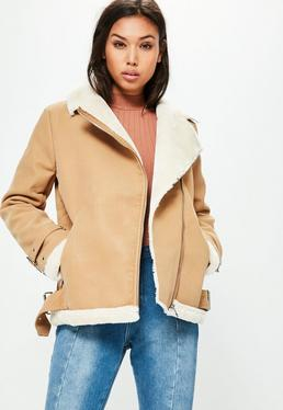 Faux Fur Lined Aviator Jacket Camel
