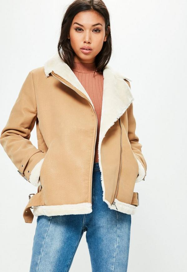 Faux Fur Lined Aviator Jacket Camel