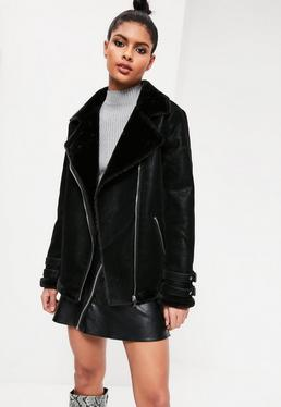 Black Oversized Faux Fur Lined Aviator Jacket