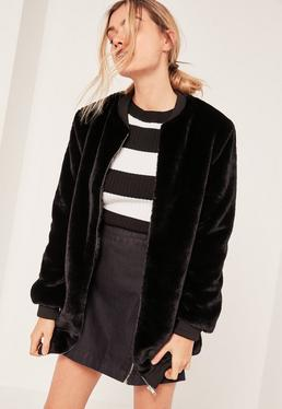 Black Longline Faux Fur Bomber Jacket