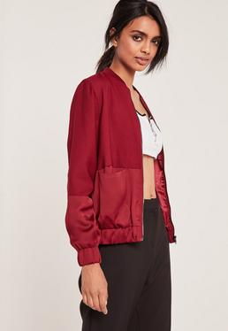 Satin Two Tone Bomber Jacket Burgundy