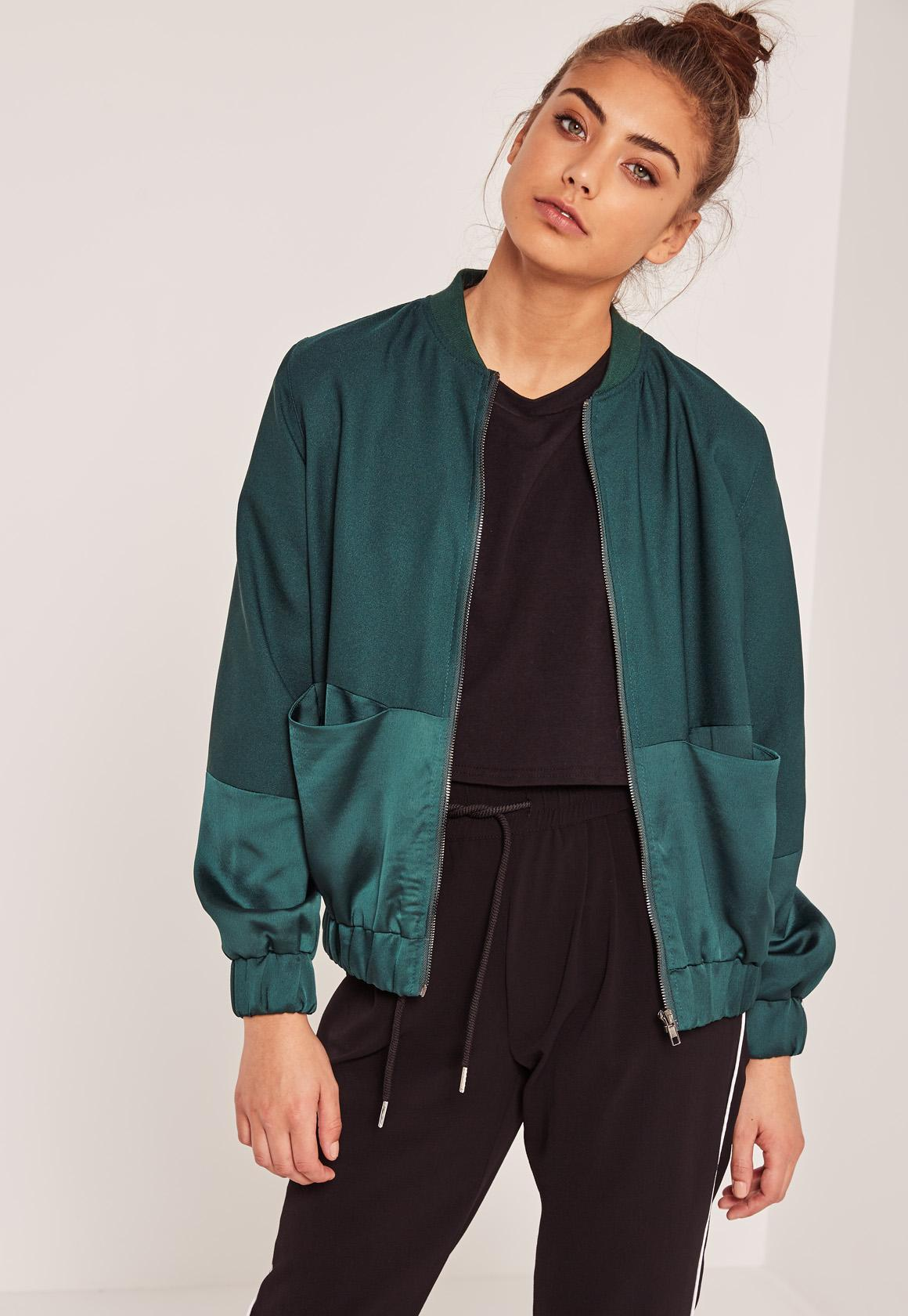 Satin Two Tone Bomber Jacket Green | Missguided