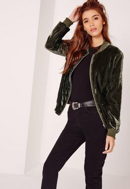 Velvet Bomber Jacket Khaki