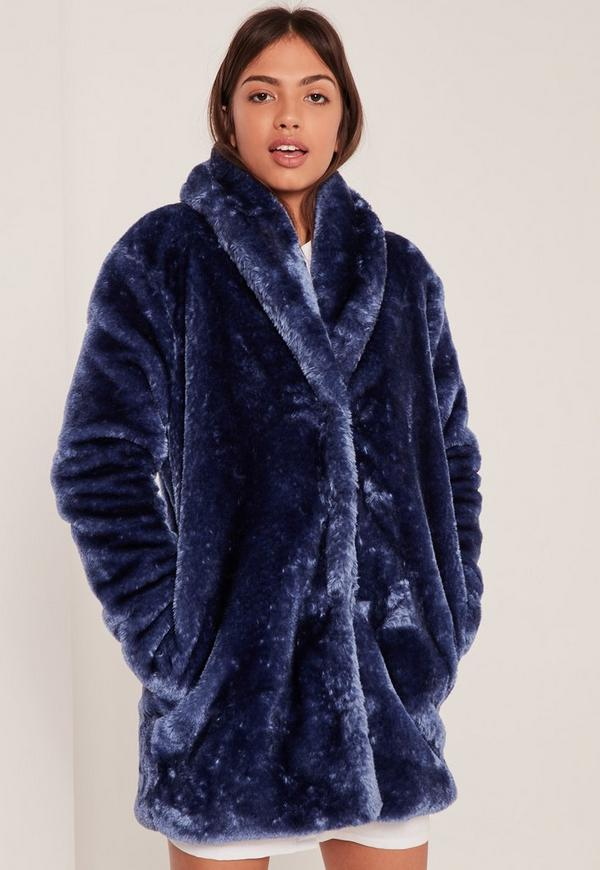 Pressed Faux Fur Coat Navy - Missguided