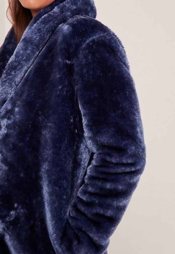 Pressed Faux Fur Coat Navy | Missguided
