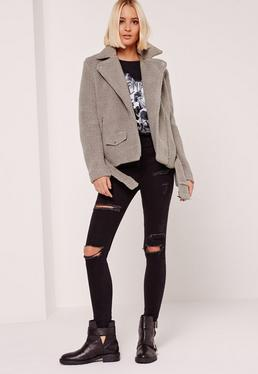 Faux Shearling Biker Jacket Grey