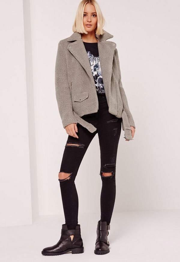 Faux Shearling Biker Jacket Grey - Missguided