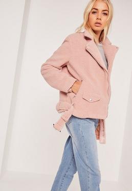 Faux Shearling Biker Jacket Pink